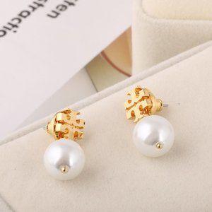 Tory Burch Fashion Hollow Logo Pearl Earrings